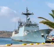 Navy Military Destroyer Ship in Valletta. 15 July 2018 - Valletta, Malta. Republic of Korea naval destroyer ship Munmu the Great DDH 976 docked in Grand Harbor Royalty Free Stock Image