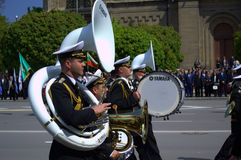 Navy musicians in parade Royalty Free Stock Photography