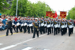 Navy musicians at russian parade Royalty Free Stock Photo