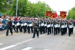 Navy musicians at russian parade Royalty Free Stock Photo