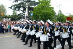 Navy musicians at russian parade Stock Photography