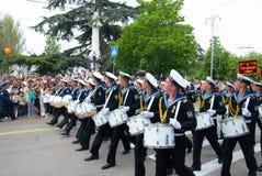 Navy musicians at russian parade Stock Photography