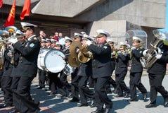 Navy musicians at russian parade May 9, 2009 Stock Photos