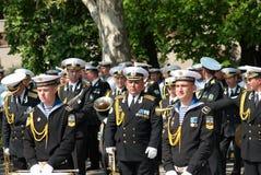 Navy musicians at russian parade May 9, 2009 Royalty Free Stock Image