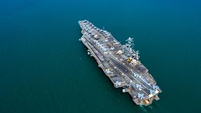 Free Navy Nuclear Aircraft Carrier, Military Navy Ship Carrier Full Loading Fighter Jet Aircraft, Aerial View Royalty Free Stock Images - 141164869