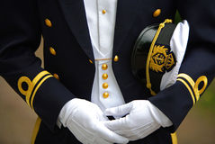 Navy Officer Holding his Cap royalty free stock images