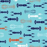 Navy, orange, white lobster marine design with blue background. Seamless vector repeat pattern. Great for kids clothing, textiles, card, paper, print, wrapping Stock Images