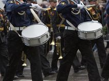 Navy orchestra participate in parade. Royalty Free Stock Image