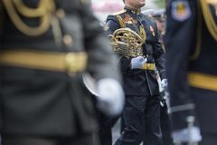 Navy orchestra participate in parade Stock Photo