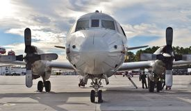 Navy P-3 Orion Anti-Submarine Aircraft. A U.S. Navy P-3 Orion anti-submarine aircraft, based on the Lockheed L-188 Electra airframe, on the runway at Naval Air Stock Images