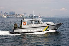 Navy patrol boat in Guanabara Bay stock image