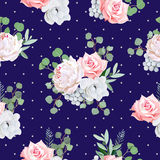 Navy pattern with bouquets of rose, peony, anemone, brunia flowers and eucaliptis leaves Royalty Free Stock Photo
