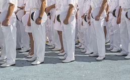 Navy personnel in formation. At ceremony stock photography