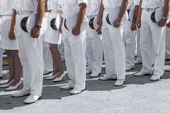 Navy personnel in formation. At ceremony royalty free stock photos