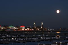 Navy Pier. In Chicago at Twilight with moon in background Stock Image