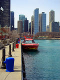 Navy Pier Chicago. Corner of Chicago Navy Pier with skyscrapers background Stock Images
