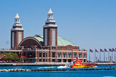 Navy Pier in Chicago. Boats parked at Navy Pier on the Michigan lake Royalty Free Stock Photos