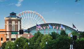 Navy Pier in Chicago. Navy Pier historical building and the Ferris Wheel Stock Photo