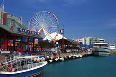 Navy Pier, Chicago. Looking down Navy Pier on a sunny day in Chicago stock images