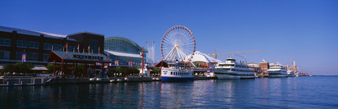 Navy Pier in Chicago, IL with Ferris Wheel Royalty Free Stock Images
