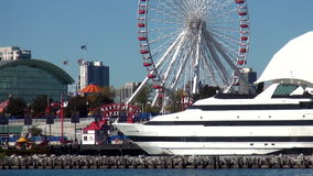 Navy Pier Chicago from Lake Michigan - City of Chicago stock video footage