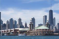 Navy Pier and Chicago Skyline Stock Photos