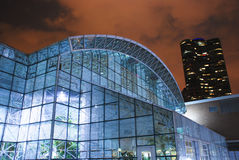 Navy Pier Crystal Gardens. Night photo of the glorious glass structure of the Crystal Gardens, Navy Pier, Chicago stock images