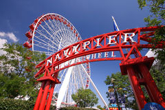 Navy Pier and the Ferris Wheel. A bright sunny day at Navy Pier in Chicago Royalty Free Stock Photography
