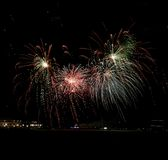 Navy Pier Fireworks. This is a Summer picture of fireworks over Lake Michigan at Navy Pier in Chicago, Illinois in Cook County.  This picture was taken on August Stock Image
