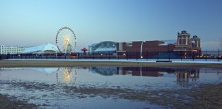 Navy Pier reflected at dusk Stock Images