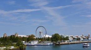 Navy Pier. This is a Summer picture of iconic Navy Pier on Lake Michigan located in Chicago, Illinois in Cook County.  This picture, under cirrus clouds in a Royalty Free Stock Image