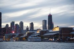 Navy Pier at Sunset Chicago, Illinois royalty free stock photos
