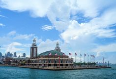 Navy Pier. A view of Navy Pier from out on Lake Michigan Stock Images
