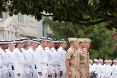 Navy plebes in Noon Formation Stock Photos