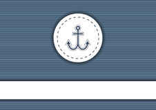 Navy poster with striped background, anchor and copyspace Stock Image
