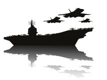 Navy power. Aircraft carrier and flying aircrafts detailed silhouettes. Vector EPS10 Stock Photo