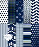 Navy Scrapbook Paper, Nautical Seamless Patterns. Seamless Background Patterns - 10 repeating patterns including: anchor prints, polka dots, stripes, chevrons Royalty Free Stock Photography