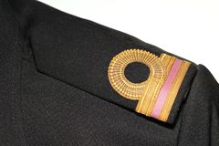 Navy rank arm scene. The shirt with navy rank arm decoration represent the navy uniform and military concept related background idea stock photo