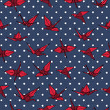 Navy and red crane origami seamless vector pattern Royalty Free Stock Photo