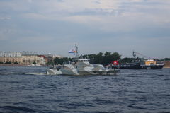 Navy. Rehearsal of the parade in honor of the day of the Navy on the Neva River, St. Petersburg Stock Photography