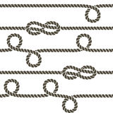 Navy rope with marine knots vector seamless pattern Stock Photography