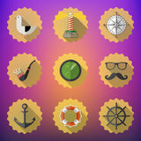 Navy Sailor Marine Flat Vector Icon Set. Include fish sonar rada Stock Images
