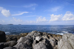 Navy sea and clearly blue sky. View point at Phuket sea Royalty Free Stock Images