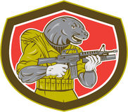 Navy Seal With Armalite Rifle Shield. Illustration of a navy seal holding an armalite rifle with greanade launcher set inside shield shape Royalty Free Stock Photo