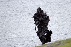 Navy seal. DEN HELDER, THE NETHERLANDS - JUNE 23: Dutch Special Forces combat diver during an amphibious assault demo during the Dutch Navy Days on June 23, 2013 Royalty Free Stock Photo