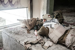 Navy Seal Sniper. With rifle in action Stock Images