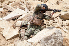 Navy SEAL Team. Members of Navy SEAL Team with weapons in action Stock Images