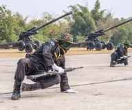 Navy Seal Team performing combat training in Military Parade of Royal Thai Navy Royalty Free Stock Images