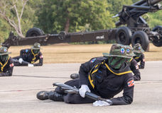 Navy Seal Team performing combat training in Military Parade of Royal Thai Navy Stock Photo