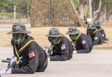Navy Seal Team performing combat training in Military Parade of Royal Thai Navy Stock Photos